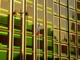 Window and French national flag of building