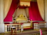 Bed in room of purplish red color