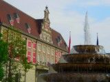 Fountain with difference and European style building