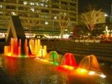 Colorful fountain in front of Takenotsuka Station