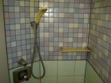 Shower with watery blue and purple tile