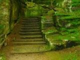 The stairs and green of Kawabe's stone