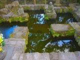 Tiny artificial pond with statue