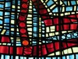 Light blue and red stained glass