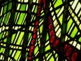 Verdant green and red stained glass