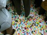 Confetti that accumulates in one's feet