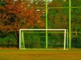 Soccer goal in vacant lot