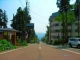 Road in hot spring of Niigata red warehouse